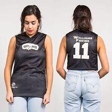 Retro para Mujer Malla Baloncesto Camiseta Chaleco USA deportes universitarios Espuelas Negro Blanco 8