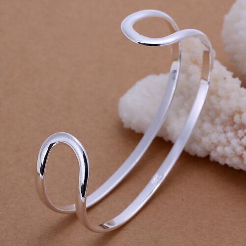 Loisirs Style 925 Sterling Silver plate de deux lignes Hommes Femmes Bangle Bracelet GB071