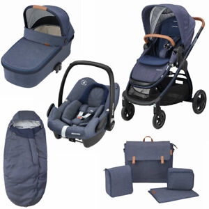 Maxi Cosi Adorra Pushchair, Oria Carrycot, Rock Car Seat, Bag &FMF Blue RRP:£865