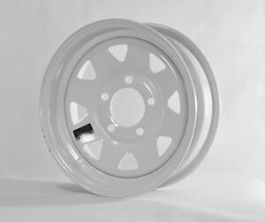 "2-Pack Trailer Wheel White Rims 15 x 5 Spoke Style (5 Lug On 4.5"")"