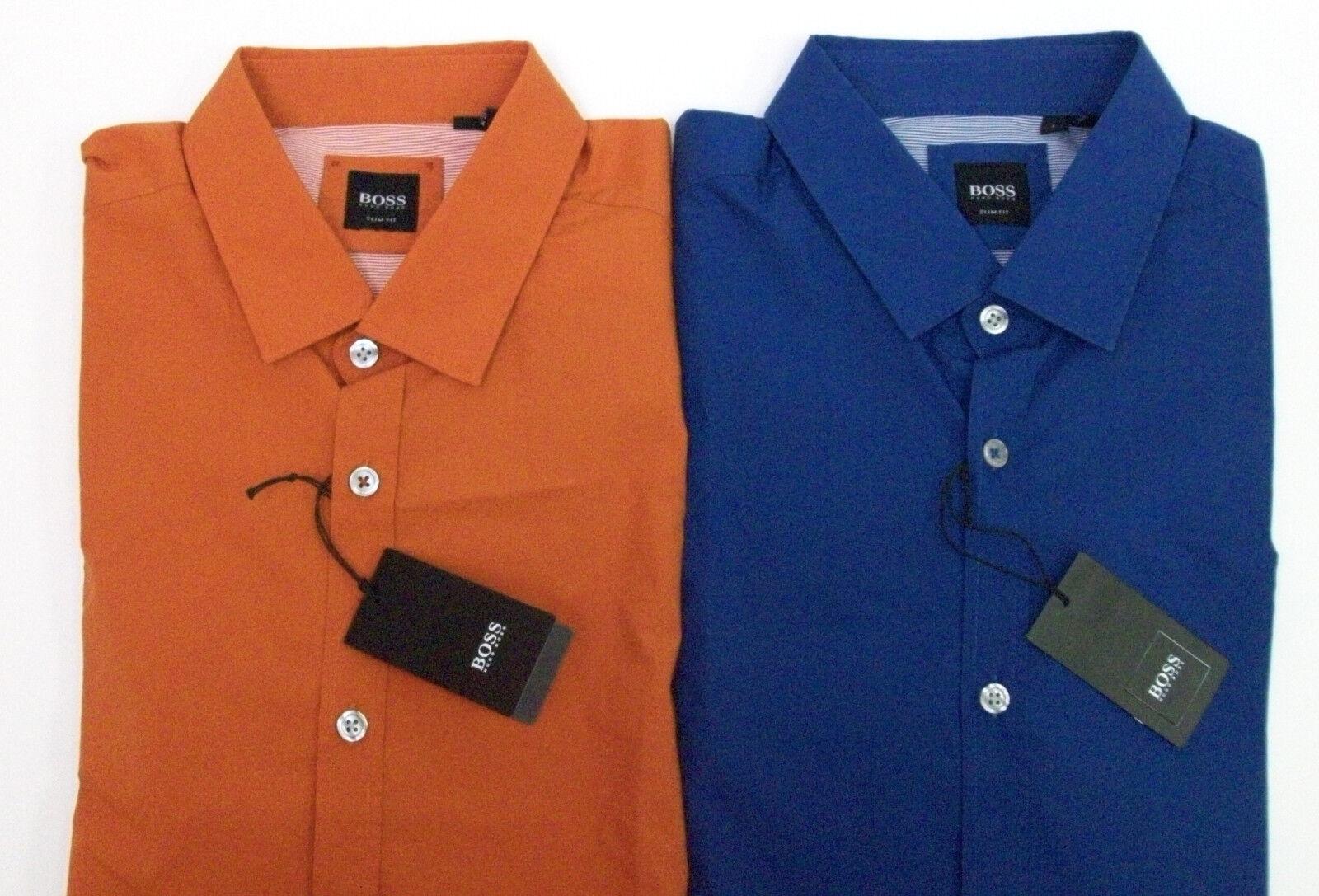 312b11d4dfaea9 Hugo Boss Slim Fit Cotton Sport Shirt Spread Collar bluee Rust NWT ...