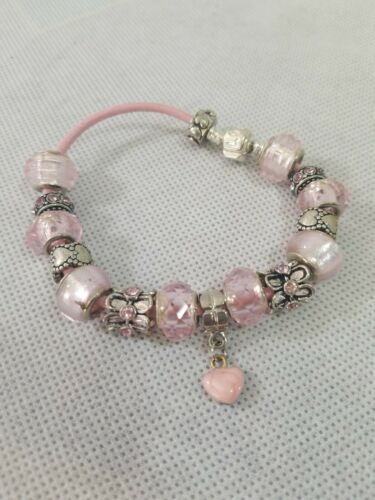 Cute Charm Bracelet for Girls Jewelry Gift for Her Pink and Copper Bracelet with Rose Quartz and Pearls Purple Beaded Charm Bracelet