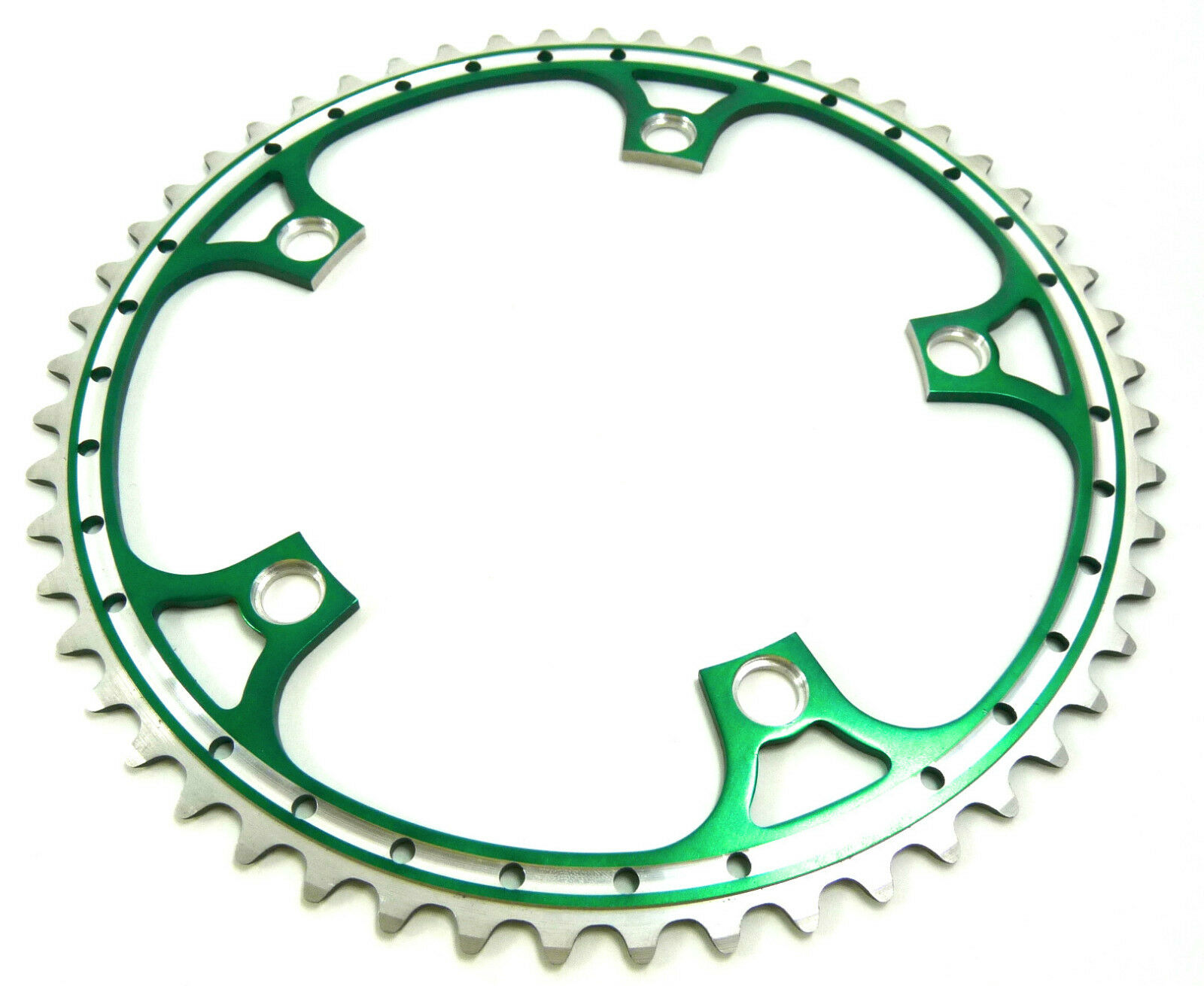 Rino Green Anodized Chainring 53T 144 Bcd Drilled Fits Campagnolo Cranksets NOS