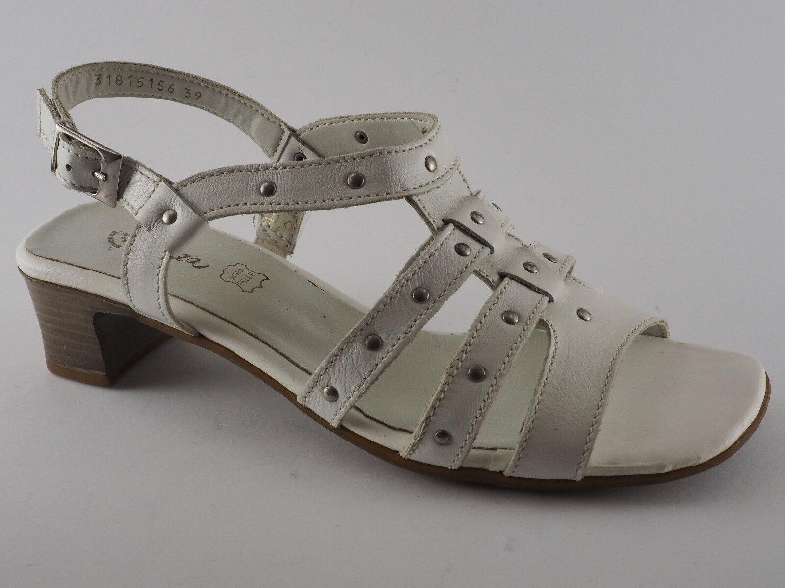 Schuhe Damen Pumps PIAZZA NEU Weiß Leder Sandaletten 2 1 39