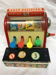 Vintage-Fisher-Price-Wooden-Cash-Register-Non-working-No-Coins-972