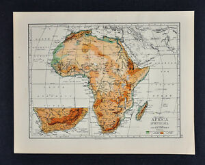 1895 Johnston Map - Physical Africa - Cape Colony South Sahara ...