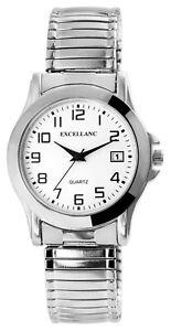 Excellanc-Herrenuhr-Weiss-Silber-Analog-Datum-Metall-Zugband-Quarz-X2700022001