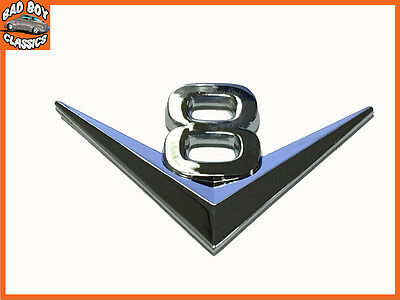 V8 Self Adhesive Metal Badge Chrome
