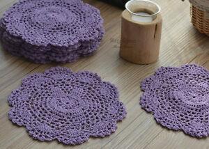 "Dozen 8"" Round Purple Hand Crochet Doilies Coasters Lot"