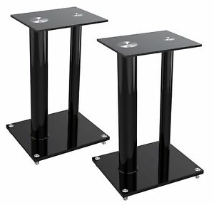 Details About 2 Two Black Glass Floor Speaker Stands For 22 Lbs Bookshelf Subwoofer Home Audio