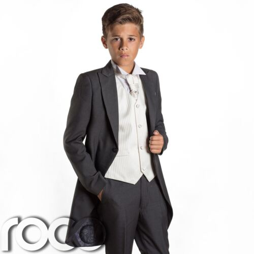 Boys Grey /& Ivory Tail Suit Slim Fit Suits Page Boy Suits Wedding Suits