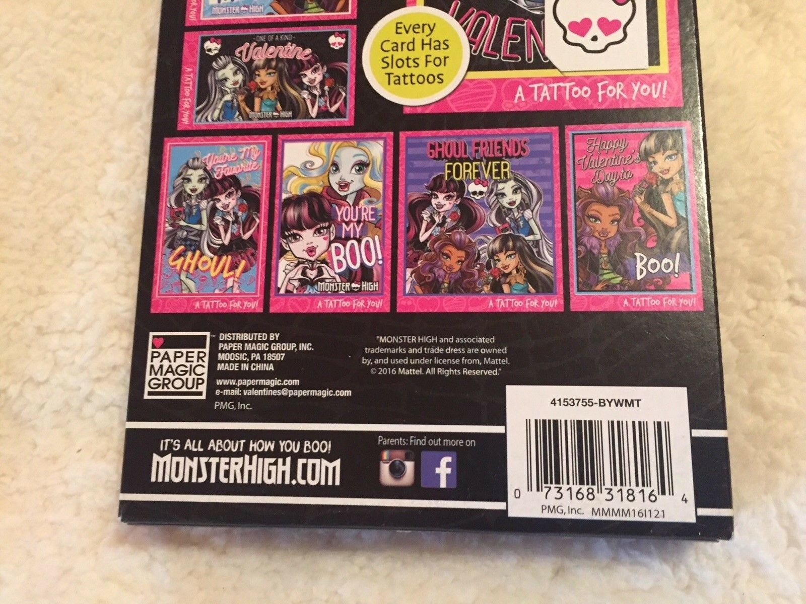 Monster High 32 Valentines And 32 Glitter Tattoos 8 Fantastic Fun