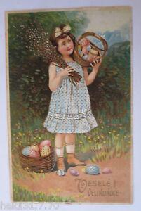 034-Easter-Children-Basket-Easter-Eggs-034-1913-Embossed-Postcard-29346