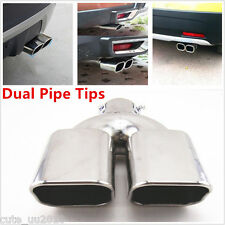 Car Dual Rolled Inlet Stainless Steel Exhaust Muffler Pipe Tips Silver Chrome