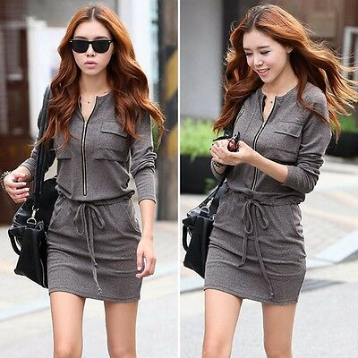 Women Sexy Long Sleeve Winter Bodycon Empire Waist Casual Party Cocktail Dresses