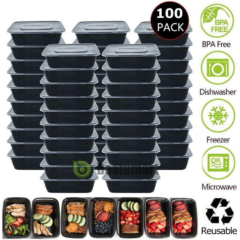 100 Meal 26oz Prep Food Containers Plastic Reusable Microwavable 1 Compartment