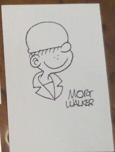 mort walker creator beatle bailey sketch signed autographed large