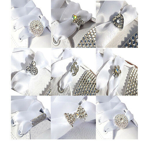 Cristal Strass Shoe Charms /& blanc ruban satin lacets pour Bling Baskets