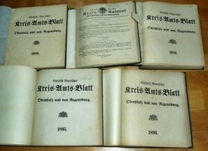 5x-Kreis-Amts-Blatt-Regensburg-Oberpfalz-1895-1896-1898-1899-Chronik-Neumarkt