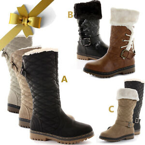 WOMENS-LADIES-WINTER-FUR-LINED-QUILTED-FLAT-KNEE-HIGH-S2A-D7X-SNOW-BOOTS-SIZE