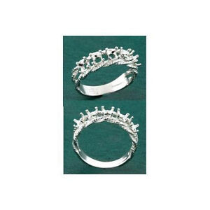 Stone Fleur Sterling .925 Mothers Ring Setting 3mm Round 3 Ring Size 7
