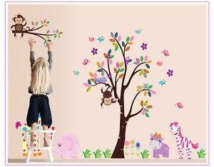 Wandtattoo Kinderzimmer Elefant Tiere Affe Baum Katze Giraffe ...