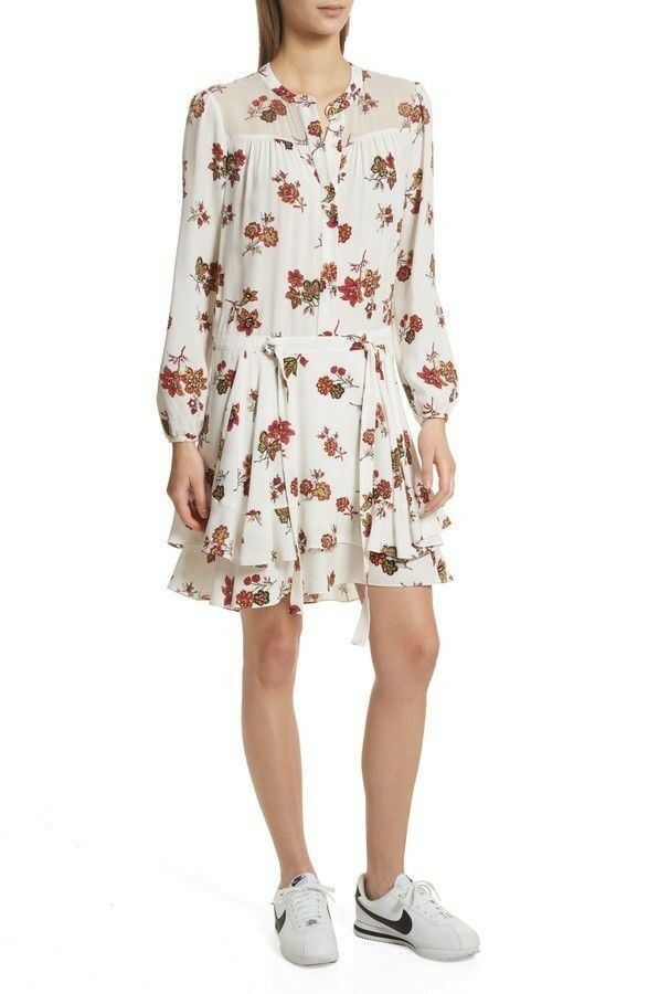 575 NWT A.L.C. Rori 100% Silk Drop Waist Dress Size 6 999f76