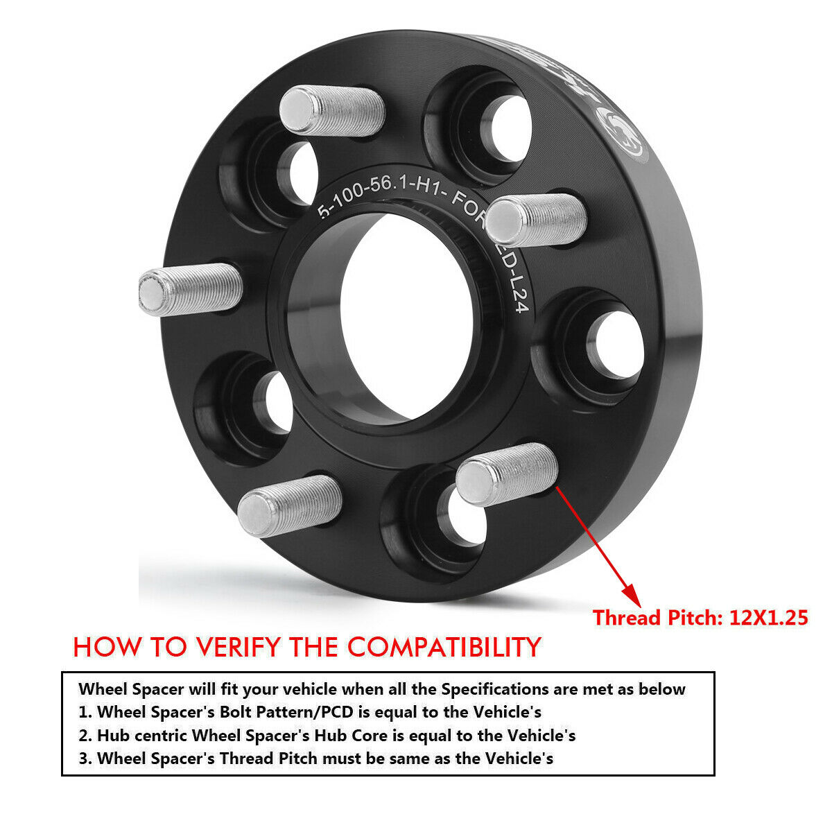 H/&R Blackline 20mm Hubcentric Wheel Spacers Seat Ibiza 6J 2008 on 5x100