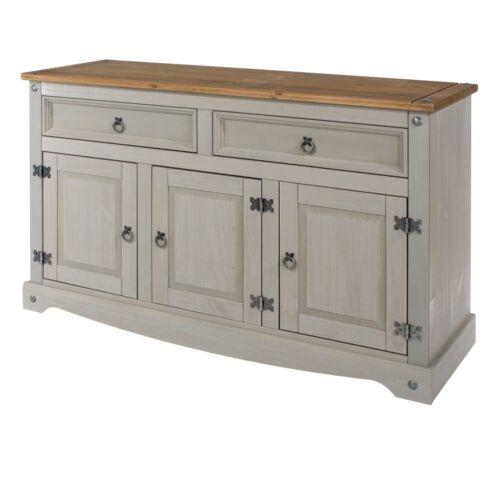 Premium Corona Grey Washed Medium Sideboard Dresser Solid Pine /& Dovetail Joints