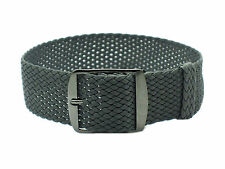 HNS 18mm/20mm Dark Grey Perlon Tropic Braided Woven Watch Strap With PVD Buckle