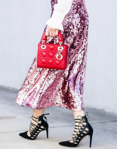 New H&M Trend Pink Sequined Midi Skirt XS S M L XL Fashion Bloggers Sold Out