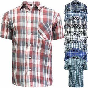 Para-Hombre-Manga-Corta-Cuadros-Algodon-Verano-informal-Camisa-Prendas-para-el-torso-informales-de