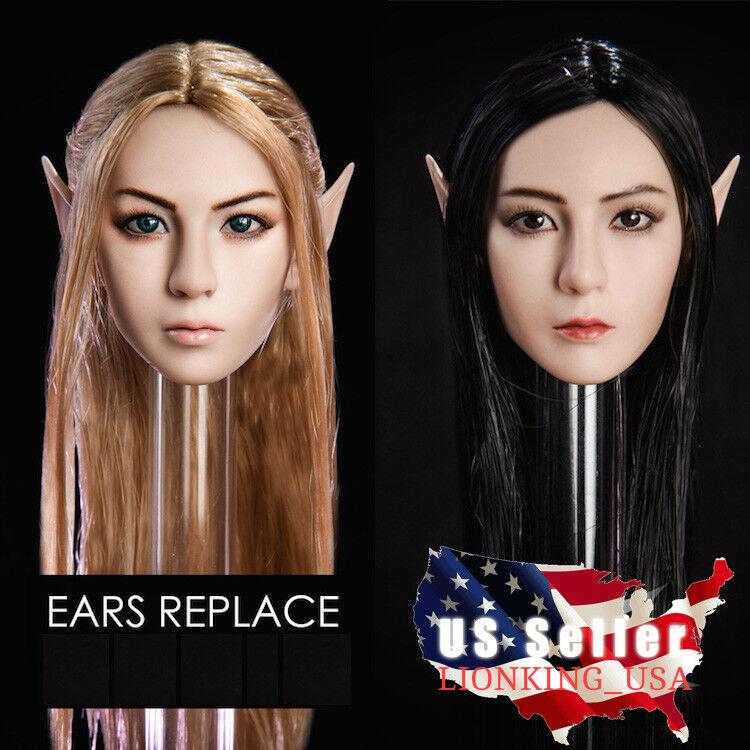 1 6 Fairy Elf Female Head Detachable Ears PALE SUNTAN For PHICEN Hot Toys ❶USA❶