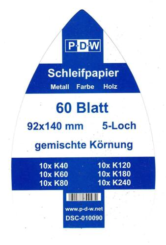 240 feuilles de papier abrasif 92x140 mm MIXk40-240schleifmouse Ponceuse delta