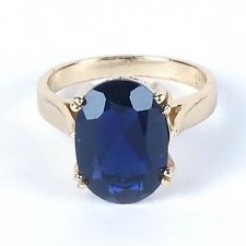 Cocktail ring navy dark blue stone big oval gold tone size 6.5 filigree Han Thai