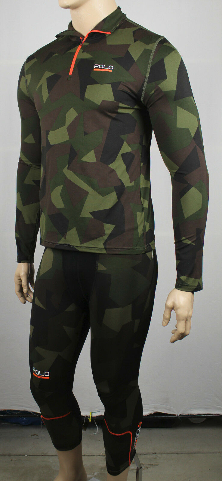 Polo Sport Ralph Lauren Camouflage Compression Running Suit 1/2 Zip NWT 179