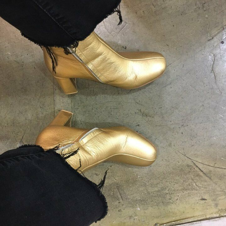 Hand made] Women Leather Ankle Booties Shoes Boot Agnes Metalic Gold Nassir mid