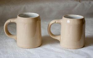 Mettlach Germany 3/10 Ltr Beer Mugs Set of 2 Form 1526 Steins Incised Backmark
