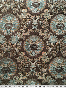 Drapery Upholstery Fabric Chenille Damask Turquoise Orange On