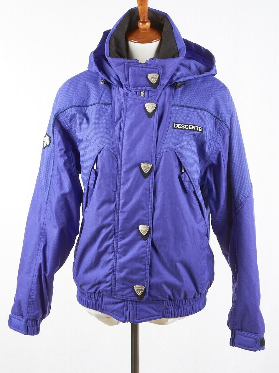 Vintage Womens DESCENTE Ski Parka 8,  Intense Indigo Purple Coat Zipper & Snaps  quick answers