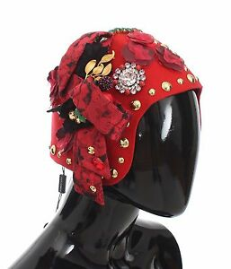 a250777bd00 NEW  3520 DOLCE   GABBANA Hat Red Crystal Gold Brooch Roses Cloche ...