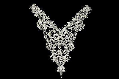 "Unotrim 9""x10.5"" Ivory Venice Lace Bodice Yoke Collar Applique Motif By Piece"