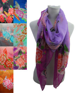 Women Lady Butterfly & Roses Printing Soft Large Summer Spring Autumn Wrap Scarf