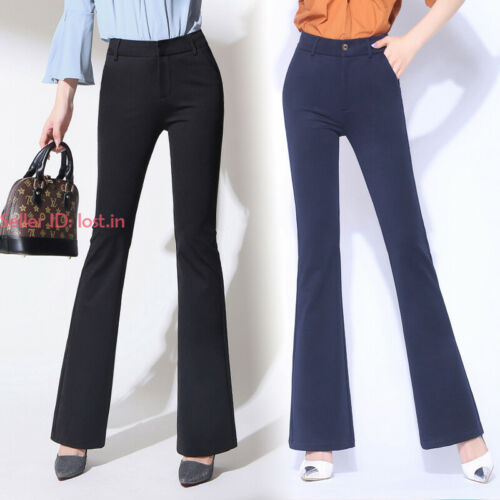 Fashion Womens Flare Bell Bottom Cotton Pants Slim Bootcut High Waisted Trousers