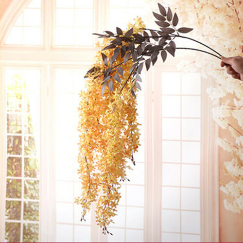 Artificial Hanging Ivy Garland Plants Vine Fake Foliage Flower Wisteria Home US