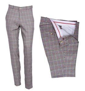 Prensa-de-estilo-vintage-y-retro-Sta-Hombre-Golf-Pantalones-Slim-Fit-Pantalones-De-Cheque-Clasico-De
