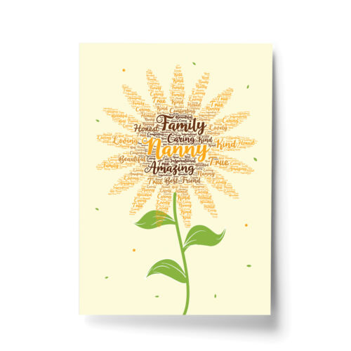 Word Art Flower Framed Picture Print Birthday Mothers Day Gift For Nan Nanny