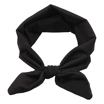 Women Elastic Stretch Plain Rabbit Bow Style Hairband Hair Band Headband Turban