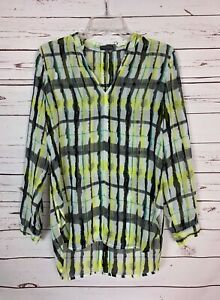 Vince-Camuto-Women-039-s-S-Small-Yellow-White-Plaid-Cute-Fall-Tunic-Top-Blouse-Shirt