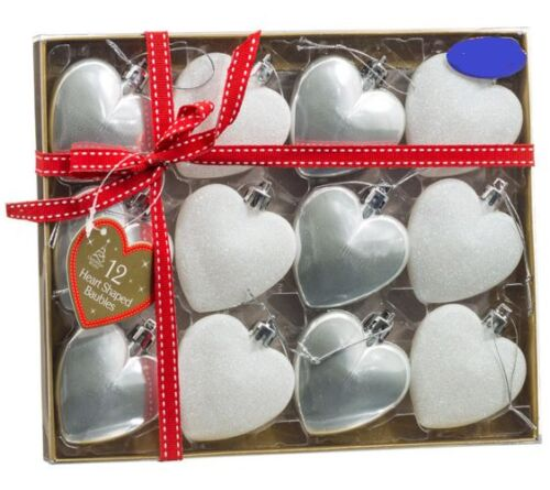 Forme Coeur Paillettes de Noël Baubles Ornements 12pk décorations pour arbres assortis
